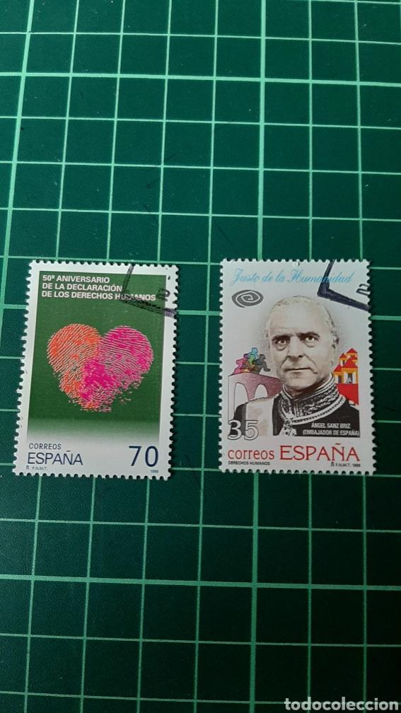 USADO LUJO EDIFIL 3696/7 ESPAÑA 1998 DERECHOS HUMANOS JUSTO DE HUMANIDAD CORAZÓN HUELLA DACTILAR 98 (Sellos - España - Juan Carlos I - Desde 1.986 a 1.999 - Usados)
