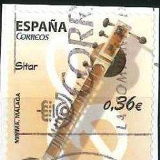 Sellos: ESPAÑA - AÑO 2012 - EDIFIL 4713 - INSTRUMENTOS MUSICALES - SITAR - USADO. Lote 293894033