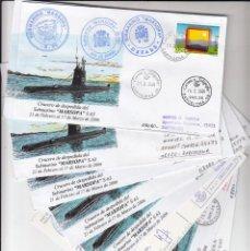 Sellos: FILATELIA NAVAL- JUEGO COMPLETO DE 9 SOBRES DEL CRUCERO DE DEPEDIDA DEL SUBMARINO MARSOPA- CARTAGENA. Lote 293970398