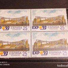 Sellos: BLOQUE DE 4 ESPAÑA.1991 EDIFIL 3101 EXPO ´92. Lote 295525978