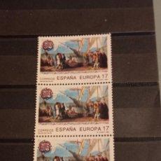 Sellos: ESPAÑA EN TIRA DE 3 SELLOS 1992 EDIFIL 3196 SELLO EUROPA CEPT SALIDA DE PALOS. Lote 295527198