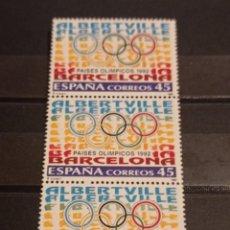 Sellos: ESPAÑA EN TIRA DE 3 SELLOS 1992. EDIFIL 3211. PAISES OLÍMPICOS.. Lote 295527963