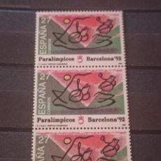 Sellos: ESPAÑA EN TIRA DE 3 SELLOS 1992. EDIFIL 3192 PARALIMPICOS. BARCELONA 92. Lote 295566688
