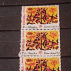 Sellos: ESPAÑA EN TIRA DE 3 SELLOS 1992 - EDIFIL 3159.PRE-OLIMPICA BARCELONA 92. Lote 295583093