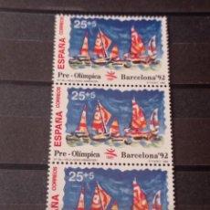 Sellos: ESPAÑA EN TIRA DE 3 SELLOS 1992 - EDIFIL 3158 .PRE-OLIMPICA BARCELONA 92. Lote 295583648
