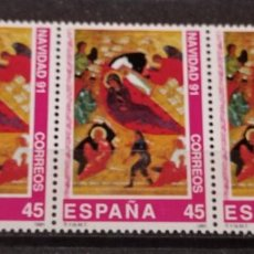 Sellos: ESPAÑA EN TIRA DE 3 SELLOS EDIFIL N°3143 NAVIDAD 1991. Lote 295625298