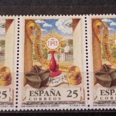 Sellos: ESPAÑA EN TIRA DE 3 SELLOS . EDIFIL 3120 SAN IGNACIO DE LOYOLA. Lote 295626313
