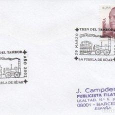 Sellos: SOBRE CIRCULADO CON MATASELLOS DE 2002 DEL TREN DEL TAMBOR. Lote 295626403