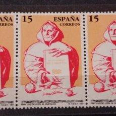 Sellos: ESPAÑA EN TIRA DE 3 SELLOS AÑO 1991 -EDIFIL 3119 CENTENARIOS: FRAY LUIS DE LEÓN. Lote 295628268