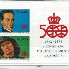 Sellos: 1991. ESPAÑA. EDIFIL CARNÉ 3137C**MNH. V CENTENARIO DESCUBRIMIENTO DE AMÉRICA. PERSONAJES.. Lote 295691553