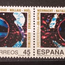 Sellos: PAREJA 1990- NAVIDAD 90- POEMA CÓSMICO. EDIFIL. 3085. Lote 295941288
