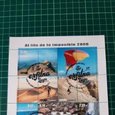 Sellos: EXFILMA LUGO GALICIA 2021 MATASELLO SOBRE HOJA AL FILO IMPOSIBLE DEPORTES 2006 EDIFIL 4224 USADA LUJ. Lote 295947753
