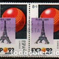 Sellos: EDIFIL 2991, EXPOSICION UNIVERSAL SEVILLA EXPO'92, PARIS 1889, USADO EN PAREJA. Lote 297360493