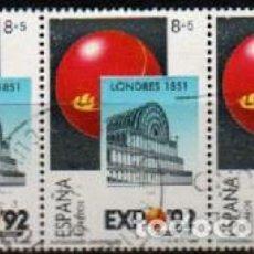 Sellos: EDIFIL 2990, EXPOSICION UNIVERSAL SEVILLA EXPO'92, LONDRES 1851, USADO EN TIRA DE TRES. Lote 297360788