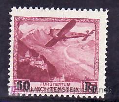 LIECHTENSTEIN AEREO 14 SIN CHARNELA, AVION, PAISAJES, (Sellos - Extranjero - Europa - Liechtenstein)