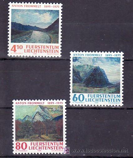 LIECHTENSTEIN 1049/51 SIN CHARNELA, PINTURA, CENTENARIO NACIMIENTO ANTON FROMMELT, (Sellos - Extranjero - Europa - Liechtenstein)