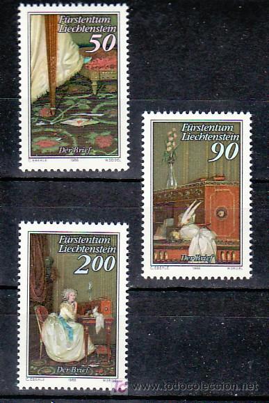 LIECHTENSTEIN 898/900 SIN CHARNELA, MONARQUIA, PINTURA DE ANTON HICKEL, (Sellos - Extranjero - Europa - Liechtenstein)