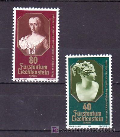 LIECHTENSTEIN 682/3 SIN CHARNELA, TEMA EUROPA 1980, PRINCESAS DE LIECHTENSTEIN, (Sellos - Extranjero - Europa - Liechtenstein)