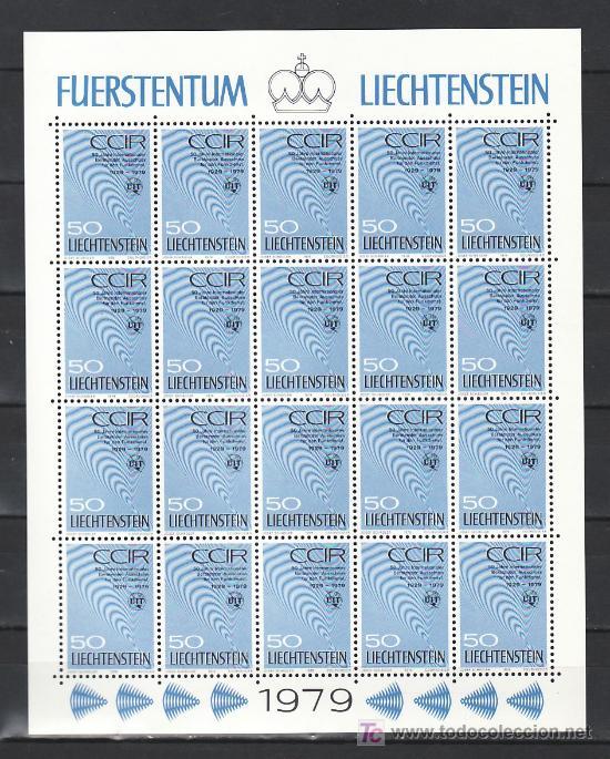 LIECHTENSTEIN 669 MINIPLIEGO(20) SIN CHARNELA, 50º ANIVº COMITE CONSULTIVO INTERNACIONAL RADIO COMU (Sellos - Extranjero - Europa - Liechtenstein)