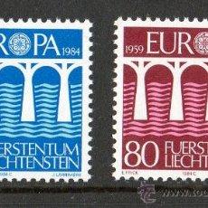 Sellos: LIECHTENSTEIN 1984 YV 778/79*** EUROPA - 25º ANIV CONFERENCIA EUROPEA - PUENTES - ARQUITECTURA. Lote 15812798