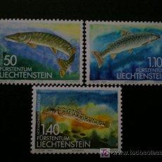 Sellos: LIECHTENSTEIN 1989 IVERT 905/7 *** FAUNA - PECES DE AGUA DULCE (II). Lote 244199470