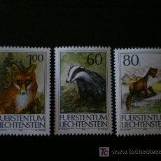 Sellos: LIECHTENSTEIN 1993 IVERT 1007/9 *** ANIMALES DE CAZA (III) - FAUNA. Lote 11288496