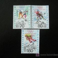 Sellos: LIECHTENSTEIN 1991 IVERT 971/3 *** JUEGOS OLIMPICOS DE INVIERNO EN ALBERBILLE - DEPORTES. Lote 11703419