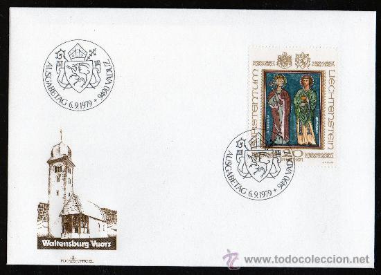 LIECHTENSTEIN 1979 YV 675 SPD - SAN LUCIANO Y SAN FLORIAN - PATRONOS - RELIGIÓN - ARTE (Sellos - Extranjero - Europa - Liechtenstein)