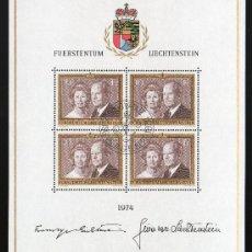 Sellos: LIECHTENSTEIN AÑO 1974 YV 557*º HB - PRÍNCIPES FCO. JOSÉ II Y GINA - PERSONAJES. Lote 26276155