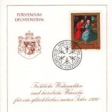 Sellos: LIECHTENSTEIN AÑO 1989 FELICITACIÓN NAVIDAD DEL SERVICIO FILATÉLICO MATASELLOS PRIMER DÍA 4-12-1989. Lote 13440591