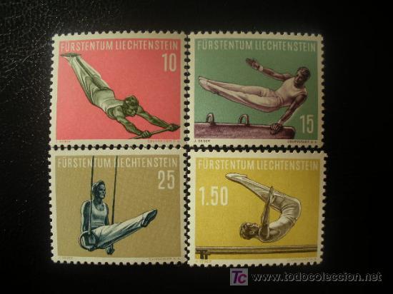 LIECHTENSTEIN 1957 IVERT 315/8 *** 4ª SERIE DEPORTIVA - DEPORTES - GIMNASIA (Sellos - Extranjero - Europa - Liechtenstein)