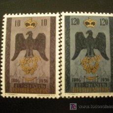 Sellos: LIECHTENSTEIN 1956 IVERT 313/4 *** 150º ANIVERSARIO DE LA SOBERANIA - ESCUDO. Lote 22818867