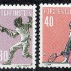 Sellos: LIECHTENSTEIN AÑO 1958 YV 327/30* DEPORTES (V SERIE) - NATACIÓN - ESGRIMA - TENIS - CICLISMO. Lote 33554229