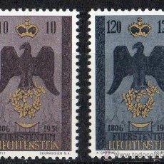 Sellos: LIECHTENSTEIN AÑO 1956 YV 314/15* 150 ANVº DE LA SOBERANÍA DEL PRINCIPADO - ESCUDOS - HERÁLDICA. Lote 33555133