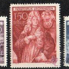 Sellos: LIECHTENSTEIN AÑO 1949 YV 243/45* 250 ANVº DE SCHELLENBERG - ARQUITECTURA - PERSONAJES. Lote 33598533