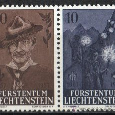 Timbres: LIECHTENSTEIN AÑO 1957 YV 322/23* CENTº NAC. DE LORD BADEN POWELL - 50 ANVº DEL SCOUTISMO - DEPORTES. Lote 33598659