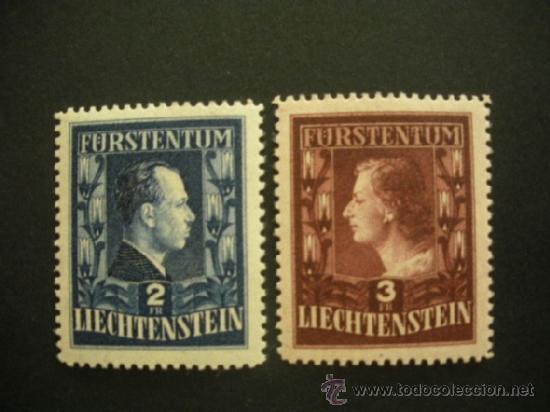 LIECHTENSTEIN 1951 IVERT 266/7 *** SERIE BÁSICA - PRINCIPES FRANCISCO JOSE II Y GEORGINA - MONARQUÍA (Sellos - Extranjero - Europa - Liechtenstein)