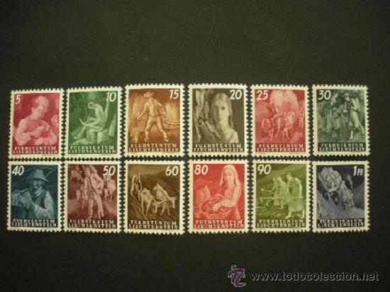 LIECHTENSTEIN 1951 IVERT 251/62 *** SERIE BÁSICA - TRABAJOS AGRICOLAS (Sellos - Extranjero - Europa - Liechtenstein)