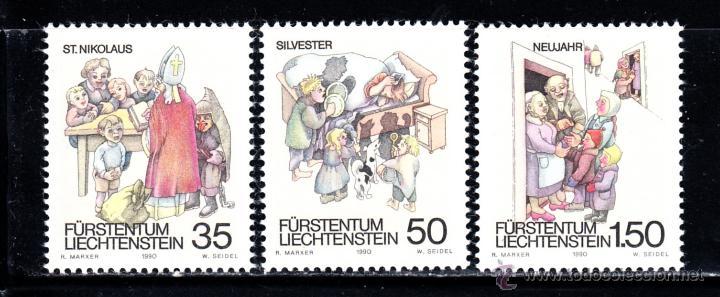 LIECHTENSTEIN 949/51** - AÑO 1990 - FOLKLORE - COSTUMBRES INVERNALES (Sellos - Extranjero - Europa - Liechtenstein)