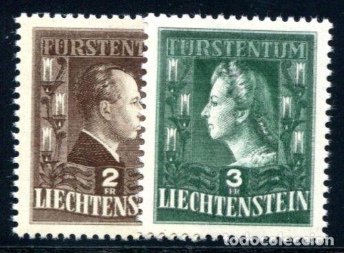 LIECHTENSTEIN 1944 IVERT 213/4 *** SERIE BÁSICA - PAREJA REAL - FRANCISCO JOSE II Y GEORGINA (Sellos - Extranjero - Europa - Liechtenstein)