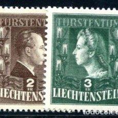 Sellos: LIECHTENSTEIN 1944 IVERT 213/4 *** SERIE BÁSICA - PAREJA REAL - FRANCISCO JOSE II Y GEORGINA. Lote 80999620