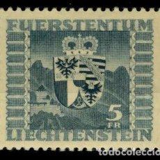 Sellos: LIECHTENSTEIN 1945 IVERT 218 *** SERIE BÁSICA - CASTILLO DE VADUZ Y ESCUDO DEL PRINCIPADO. Lote 81000196