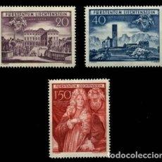 Sellos: LIECHTENSTEIN 1949 IVERT 243/4 *** 250º ANIVERSARIO ADQUISICIÓN DE SCHELLENBERG - MONUMENTOS. Lote 81004464