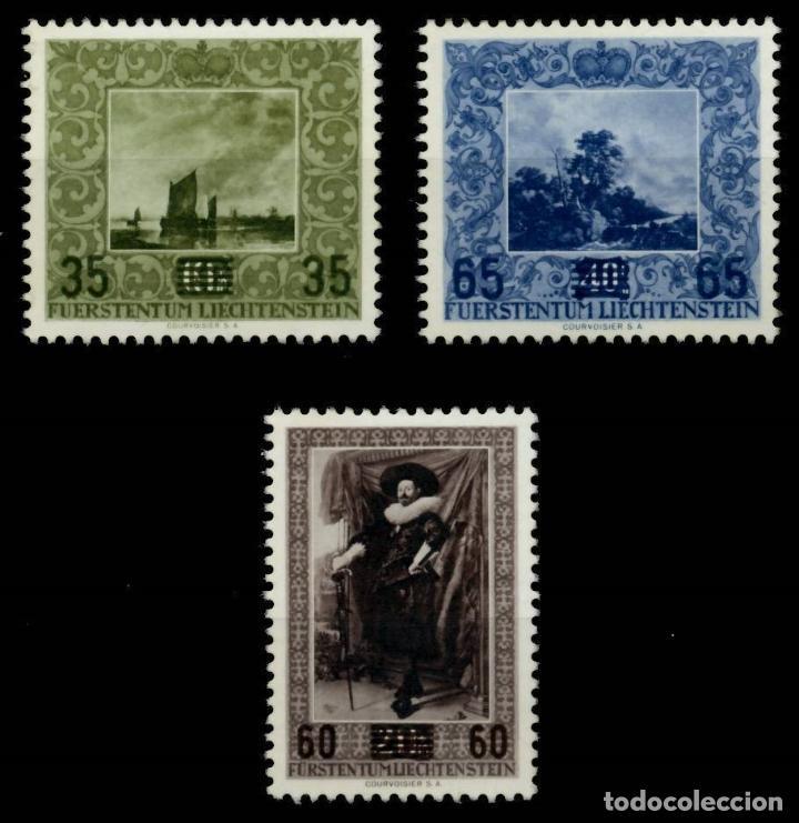 LIECHTENSTEIN 1954 IVERT 288/90 *** REPRODUCCIÓN CUADROS GALERIA PRINCIPADO - PINTURA - SOBRECARGADO (Sellos - Extranjero - Europa - Liechtenstein)