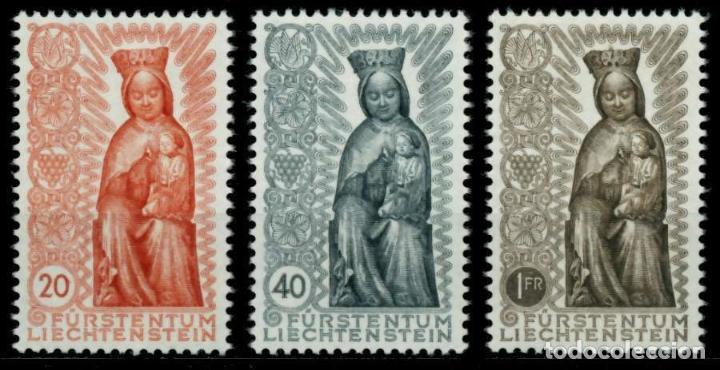 LIECHTENSTEIN 1954 IVERT 291/3 *** CLAUSURA DEL AÑO MARIANO - VIRGEN TALLADA EN MADERA SIGLO XIV (Sellos - Extranjero - Europa - Liechtenstein)