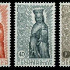Sellos: LIECHTENSTEIN 1954 IVERT 291/3 *** CLAUSURA DEL AÑO MARIANO - VIRGEN TALLADA EN MADERA SIGLO XIV. Lote 81013064