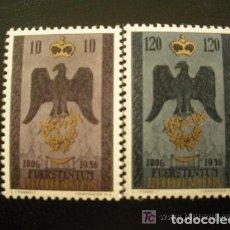 Sellos: LIECHTENSTEIN 1956 IVERT 313/4 *** 150º ANIVERSARIO DE LA SOBERANIA - ESCUDO. Lote 81014176