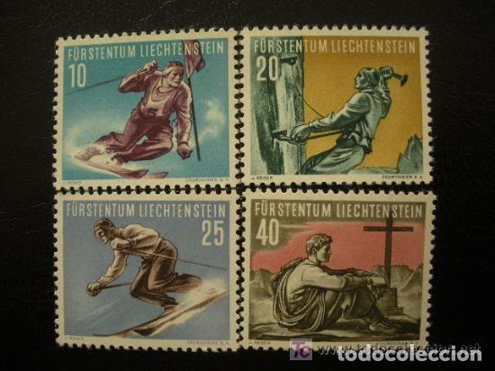 LIECHTENSTEIN 1955 IVERT 296/9 *** 2ª SERIE DEPORTIVA - DEPORTES DE INVIERNO (Sellos - Extranjero - Europa - Liechtenstein)