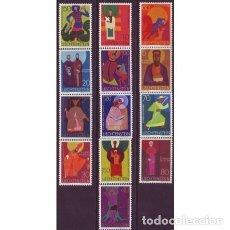 Sellos: LIECHTENSTEIN 1967 IVERT 434/45 *** SERIE BÁSICA - PATRONES DE IGLESIAS - RELIGIÓN. Lote 81937268