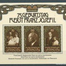 Sellos: LIECHTENSTEIN,1981,YVERT HB 14,75 ANIVERSARIO DE FRANCISCO JOSÉ II,MNH**. Lote 286655083